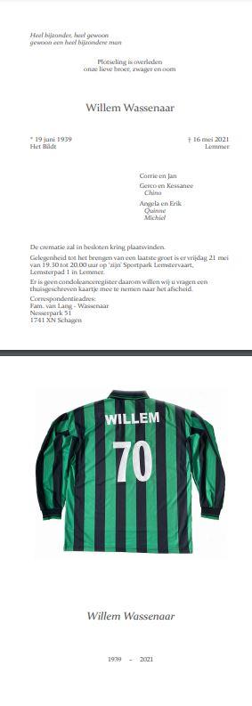 In Memoriam Willem Wassenaar